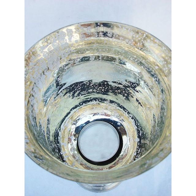 "Image of Pearlized ""Mercury"" Glass Hurricane Candle Holder"