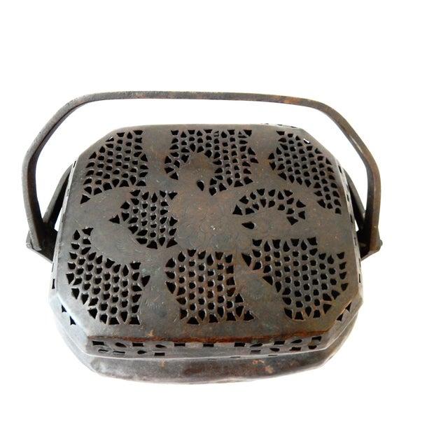 Image of Old Chinese Bronze Basket Incense Burner