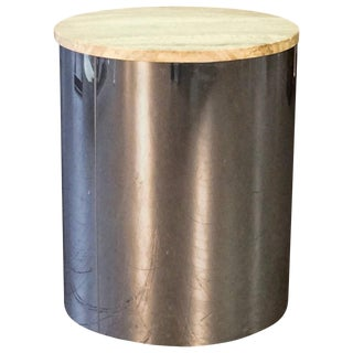 Sleek Chrome Drum Table with Travertine Top by C. Jere, circa 1975