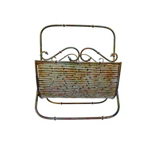 Faux Bamboo Forged Iron Tole Magazine Rack