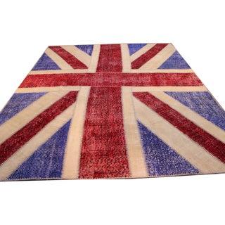Vintage England Flag Patchwork Rug - 8' x 10'