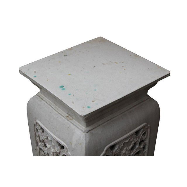 Chinese Off White Ceramic Square Dragon Garden Stool - Image 5 of 7