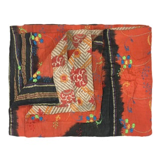 Embroidered Rug and Relic Kantha Quilt