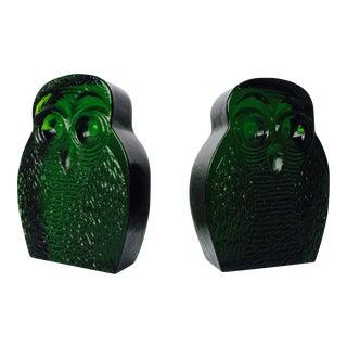 Blenko Emerald Green Glass Owl Bookends - A Pair