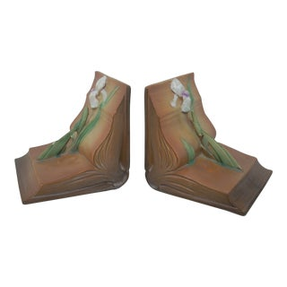 Roseville Iris Bookends - A Pair