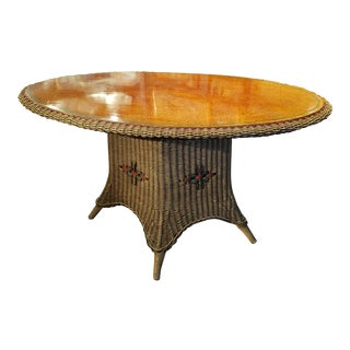 American Wicker Large Oval Table with Grain-Painted Top.