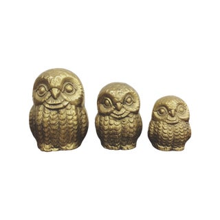 Vintage Brass Owl Family - Set of 3