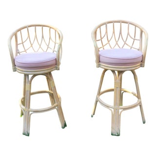 Vintage Lane Venture Rattan Swivel Bar Stools - Pair