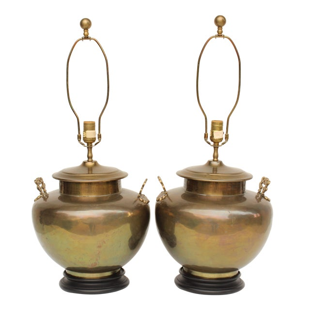Chapman Brass Asian Table Lamps - A Pair - Image 1 of 7
