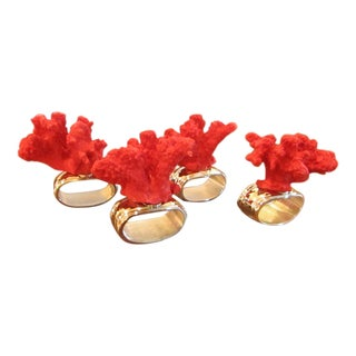 Hans Turnwald Red Coral Napkin Rings - Set of 4