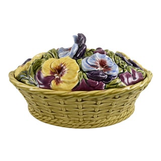 Sarreguemines French Faïence Basket of Pansies Tureen
