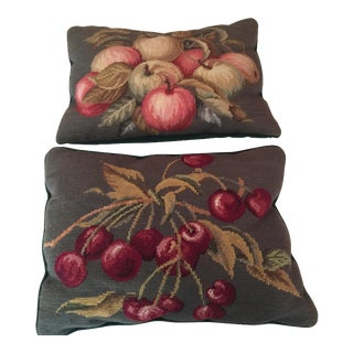 French Needle Point Pillows by Loie - A Pair
