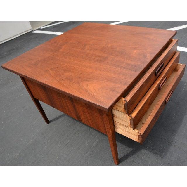 Mid Century Danish Modern Small Scale Drawer Coffee Table: Mid-Century Walnut 3-Drawer Coffee Table