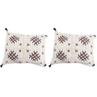 Handmade Moroccan Burgundy & White Wedding Pillow- A Pair