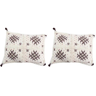 Handmade Moroccan Burgundy & White Wedding Pillow- A Pair