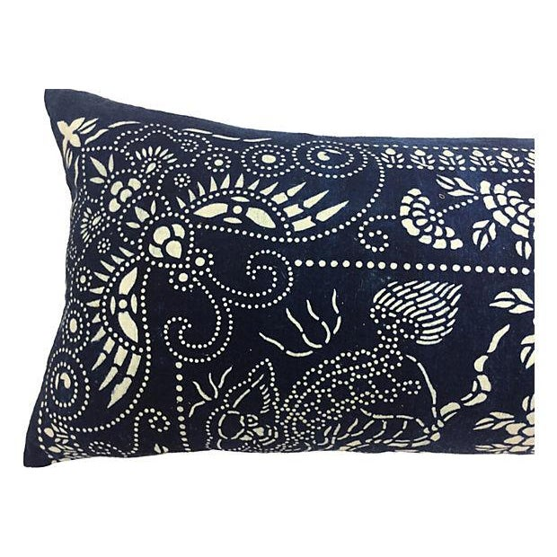 Indigo Batik Body Pillow W/ Foo Dogs - Image 2 of 6