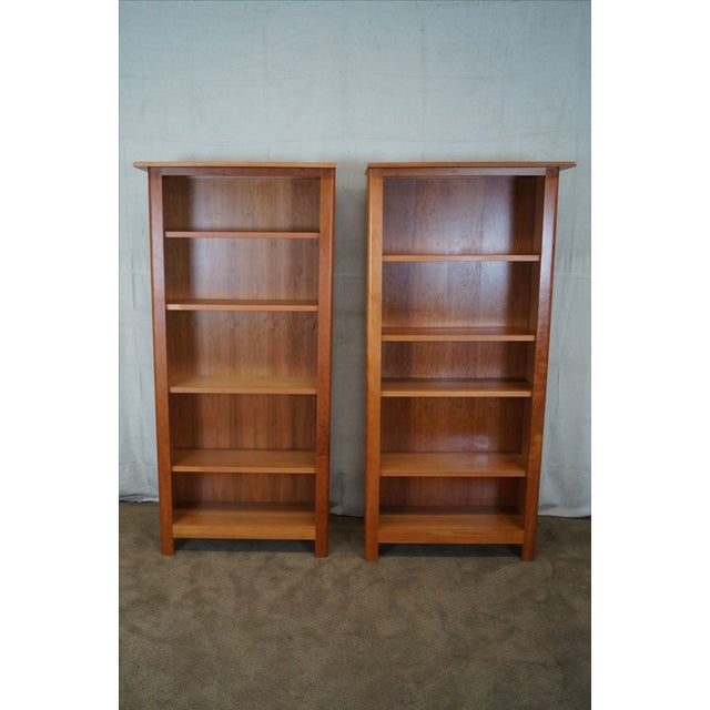 Image of Room & Board Cherry Open Bookcases - Pair