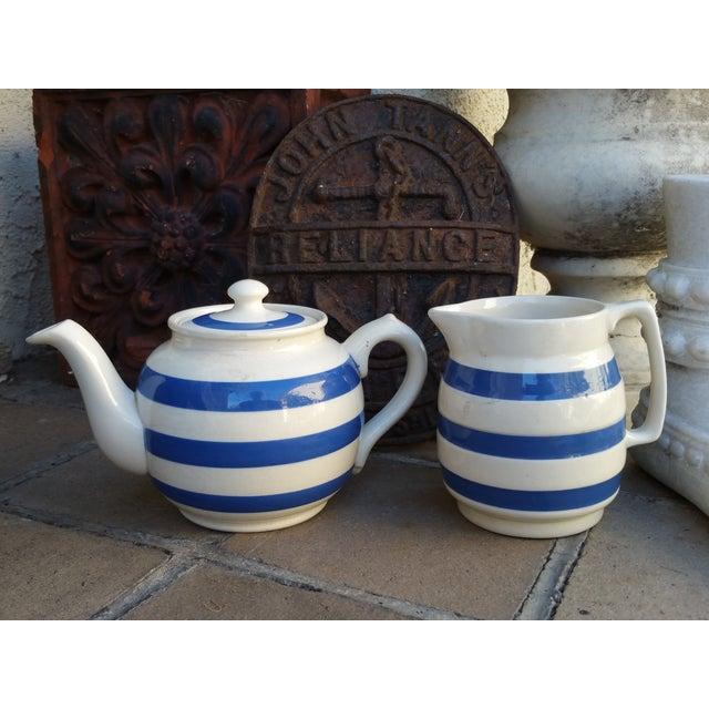 50's Cornish Stripe Pottery Tea Set - Image 3 of 5