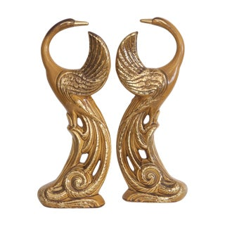Hollywood Regency Gold Ceramic Birds - A Pair