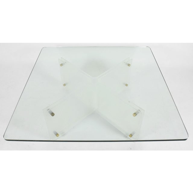 Large Glass & Acrylic Coffee Table by Neal Small - Image 3 of 6