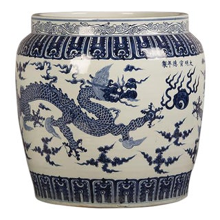 Enormous Blue and White Jardiniere with a Dragon, China