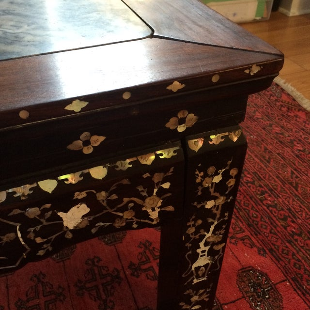 Chinoiserie Mother of Pearl Marble Table - Image 4 of 9