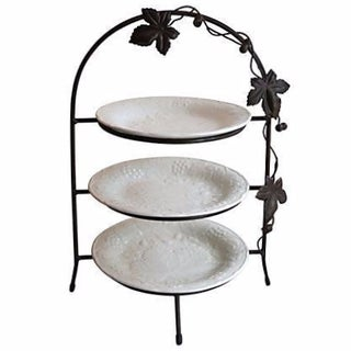 Three-Tiered Wrought Iron Server with Plates