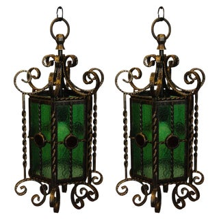 Wrought Iron Lanterns - A Pair