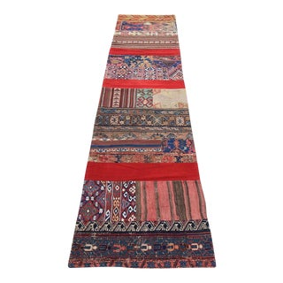 Vintage Turkish Overdyed Patchwork Oushak Rug - 2′3″ × 10′3″