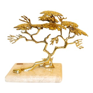 1980 Bijan Brass Sculpture Tree With Deer