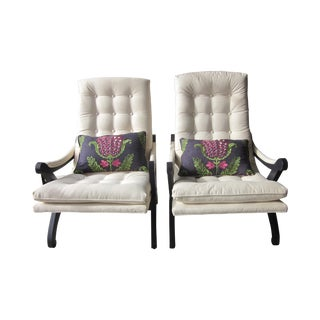 Tufted Lounge Chairs With Custom Pillow - A Pair