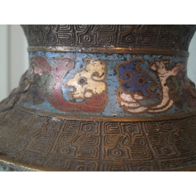 Large Antique Champleve Urn - Image 11 of 11