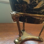 Image of Marble Vase With Brass Bull Stand