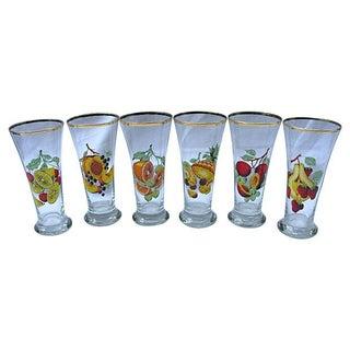 1950s Fruit Print Glasses - Set of 6