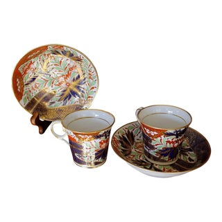 Chamberlain's Worcester Porcelain Thumb and Finger Demitasse Cups and Saucers - a Pair