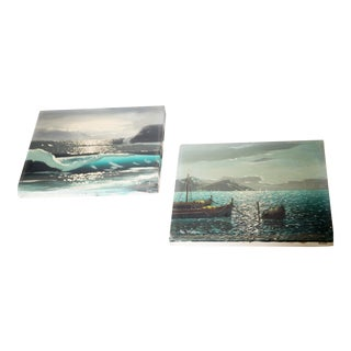 Vintage Bay of Naples Paintings - A Pair