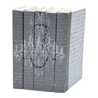 Image Collection Chandelier Pewter Books - Set of 5