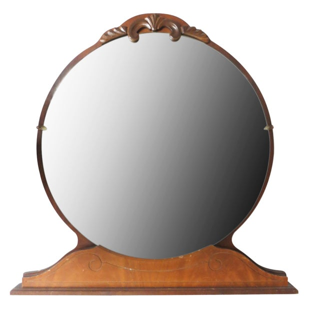round art deco bureau top mirror chairish. Black Bedroom Furniture Sets. Home Design Ideas
