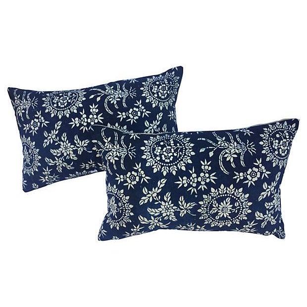 Antique Floral Indigo Batik Pillows - A Pair - Image 1 of 5