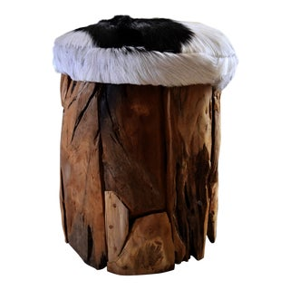Cowhide & Teak Wood Stool
