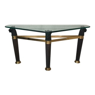 Italian Glass Brass & Wood Table