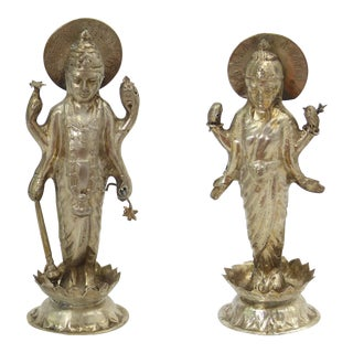 Vintage Indian Silver Statues of Deities - A Pair