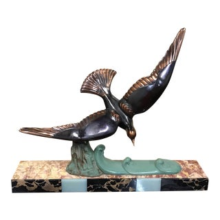 French Art Deco Sculpture Flying Birds On Marble Base,Circa 1940s