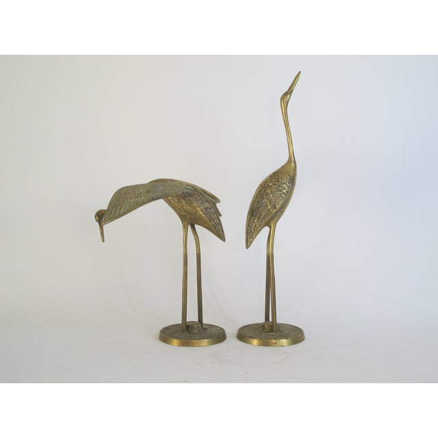 Hollywood Regency Brass Cranes on Stands - A Pair - Image 3 of 4