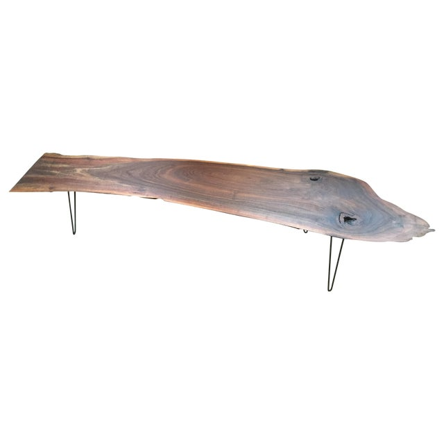Image of Black Walnut Live Edge Coffee Table, Hairpin Legs