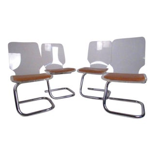 Luigi Bardini Vintage Modern Lucite Dining Chairs - Set of 4