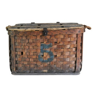Large Rustic Antique Shipping Basket Trunk