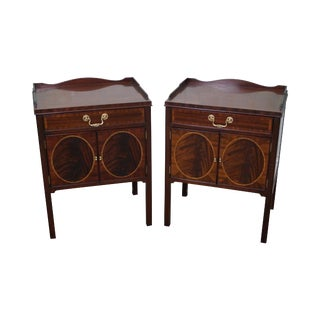 Councill Craftsman Flame Mahogany Inlaid Hepplewhite Nightstands - a Pair