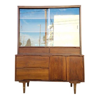 Vintage Walnut Hutch w/ Mirror by Stanley