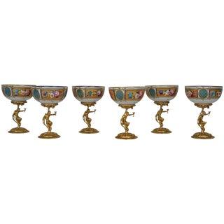 Set of Six Bronze and Porcelain Bacchanalian Goblets, Limoges, France